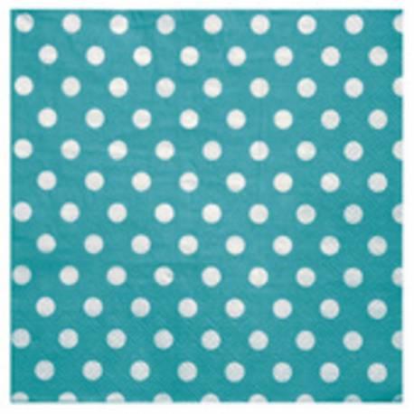 20 Serviettes en papier à mini pois turquoise 17 cm x17 cm 33 cm x 33 cm