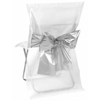 4 Housses de chaises blanche noeud métallisé argent