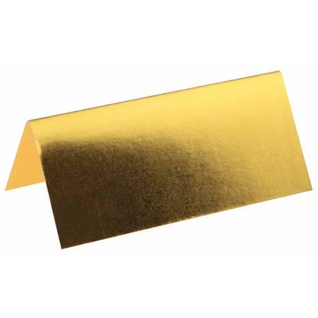 Paquet de 10 Marque-places métallisés or pour la deco de vos fêtes. Dimensions : 3 cm x 7 cm