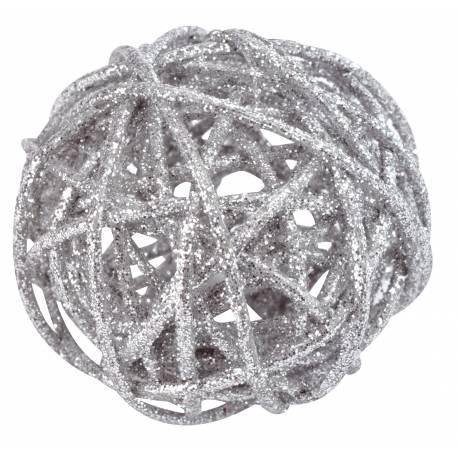 Sachet de 10 boules déco en rotin pailleté, assortiment de 3 tailles Ø 4, 5 et 7 cm
