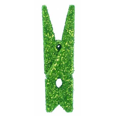 6 Mini pinces pailletéverte Dimensions : 3.5 cm