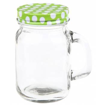 Mini jar en verre couvercle pois vert