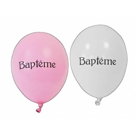 8 Ballons latex impriméBaptême Couleur : roseet blanc Dimensions : Ø 28 cm