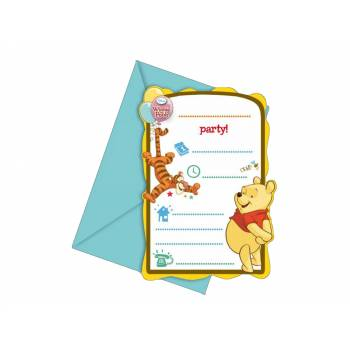 6 Cartes invitations Winnie