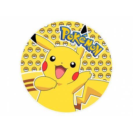 Disque sucre comestible Pat Patrouille Pikachu pour la déco de vos gâteaux. Se pose idéalement sur un gâteau recouvert de pâte à sucre...