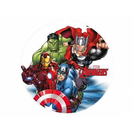 Disque sucre Avengers Team comestible pour la déco de vos gâteaux. Se pose idéalement sur un gâteau recouvert de pâte à sucre ou de pâte...