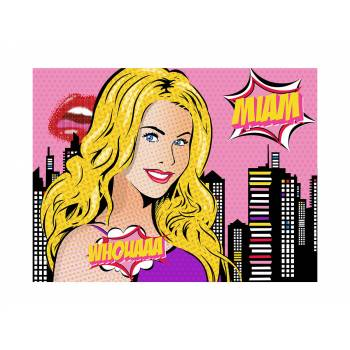 Deco azyme sur sucre Pop art girl A4