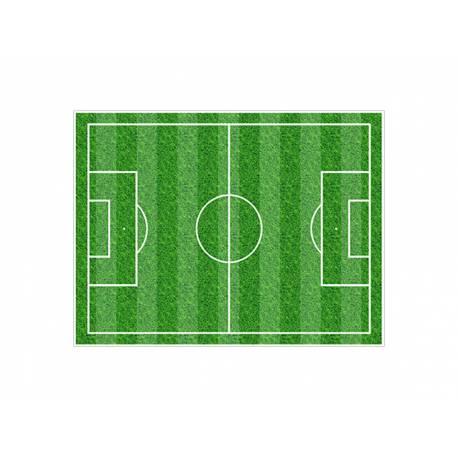 Photo comestible rectangle Terrain de foot pour la décoration de votre gâteau d'anniversaire rectangle (format A4). Simple à utiliser,...