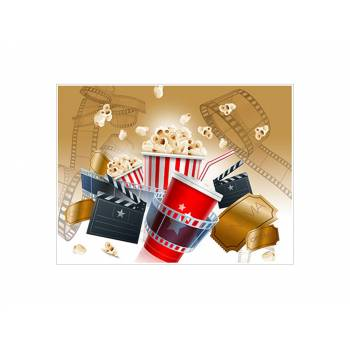 Décor sur sucre Décor cinema pop corn A4
