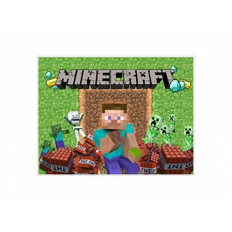 Photo comestible rectangle Décor Minecraft pour la décoration de votre gâteau d'anniversaire rectangle (format A4). Simple à utiliser,...
