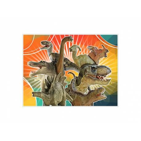 Photo comestible rectangle décor dinosaure pour la décoration de votre gâteau d'anniversaire rectangle (format A4). Simple à utiliser,...