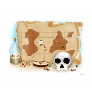 Décor sucre Pirate Carte aux trésors A4