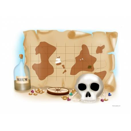 Photo comestible rectangle Carte Pirate pour la décoration de votre gâteau d'anniversaire rectangle (format A4). Simple à utiliser, et...