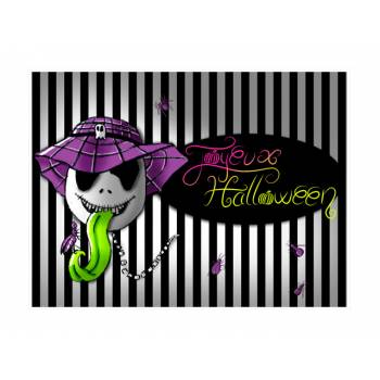 Décor sur sucre squelette d'Halloween A4