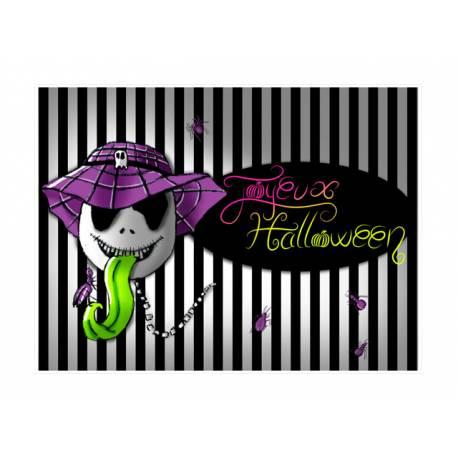 Photo comestible rectangle squelette d'Halloween pour la décoration de votre gâteau d'anniversaire rectangle (format A4). Simple à...