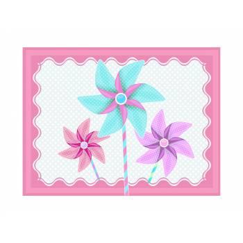 Décor sur sucre Moulin à vent rose A4