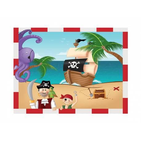Photo comestible rectangle Pirate pour la décoration de votre gâteau d'anniversaire rectangle (format A4). Simple à utiliser, et il...