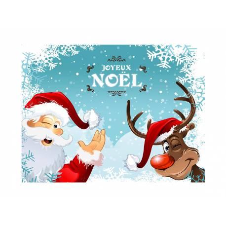 Photo comestible rectangle père Noël et renne pour la décoration de votre gâteau d'anniversaire rectangle (format A4). Simple à...