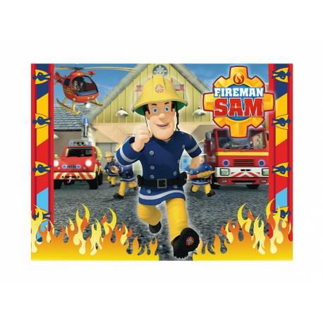 Photo comestible rectangle Sam le pompier pour la décoration de votre gâteau d'anniversaire rectangle (format A4). Simple à utiliser, et...