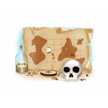 Décor sur sucre Carte Pirate A3