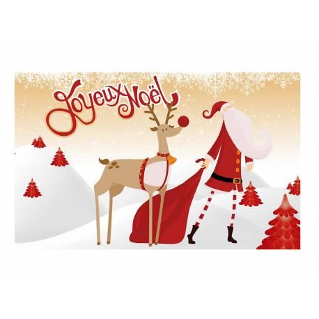 Feuille de sucre décor Joyeux Noël Or A3 pour la décoration de votre grand gâteau de fête rectangulaire (format A3). Simple à utiliser,...