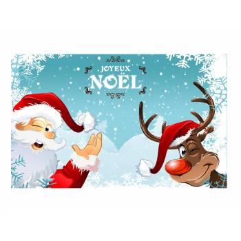 Décor sur sucre père Noël et renne A3