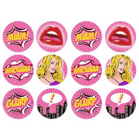 12 mini disques sucre décor pop art girl pour la décoration de vos petits gâteaux et cupcakes d'anniversaire. Ces mini disques ne...
