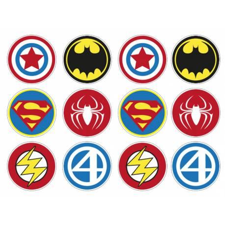 12 mini disques sucre décor Heros pour la décoration de vos petits gâteaux et cupcakes d'anniversaire. Ces mini disques ne possèdent pas...