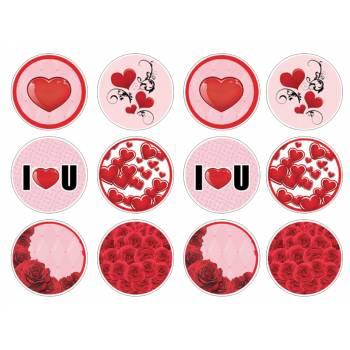 12 Mini décors sur sucre Amour