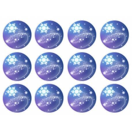 12 mini disques sucre décor Neige pour la décoration de vos petits gâteaux et cupcakes d'anniversaire. Ces mini disques ne possèdent pas...