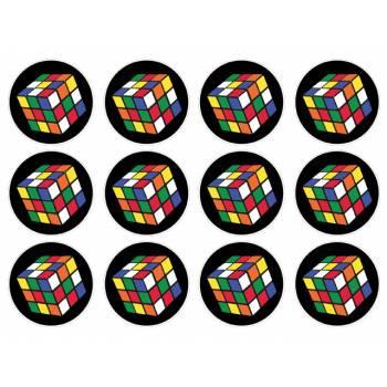 12 Mini décors sur sucre Rubik's Cube