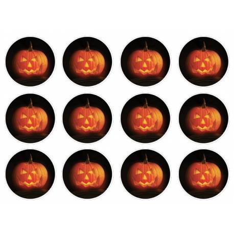 12 mini disques sucre décor Citrouilles pour la décoration de vos petits gâteaux et cupcakes d'Halloween. Ces mini disques ne possèdent...