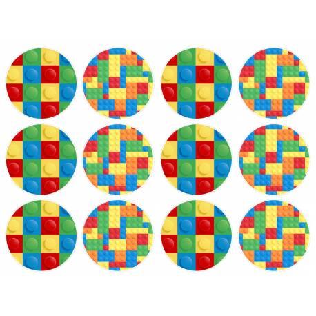 12 mini disques sucre décor Block Party pour la décoration de vos petits gâteaux et cupcakes d'anniversaire. Ces mini disques ne...