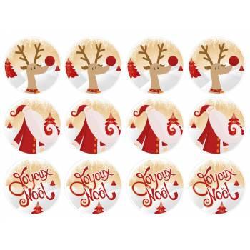12 Mini décors sur sucre Joyeux Noël or