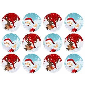 12 Mini décors sur sucre père Noël et renne