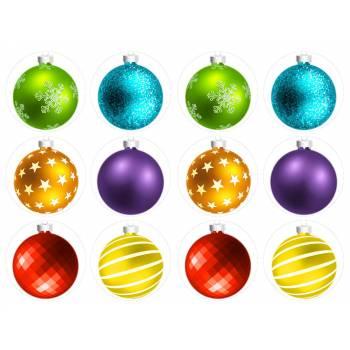 12 Mini décors sur sucre Boules de Noël
