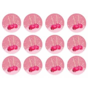 12 Mini décors sucre Pommes d'amour
