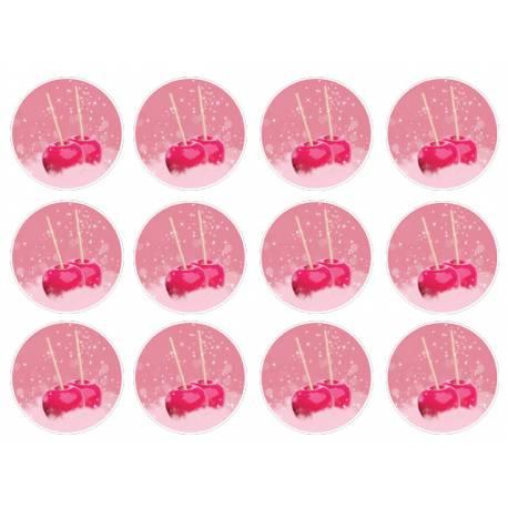 12 mini disques sucre décor Pommes d'amour pour la décoration de vos petits gâteaux et cupcakes d'anniversaire. Ces mini disques ne...