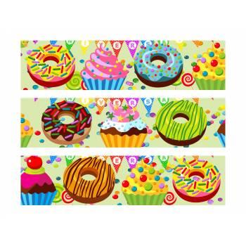 3 Bandes de gâteaux sucre décor sucrerie