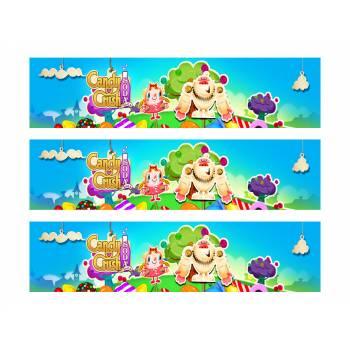 3 Bandes de gâteaux sucre décor Candy Crush