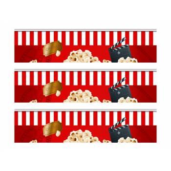 3 Bandes de gâteaux sucre décor cinema popcorn