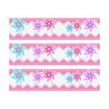 3 Bandes de gâteaux sucre décor Moulin à vent rose