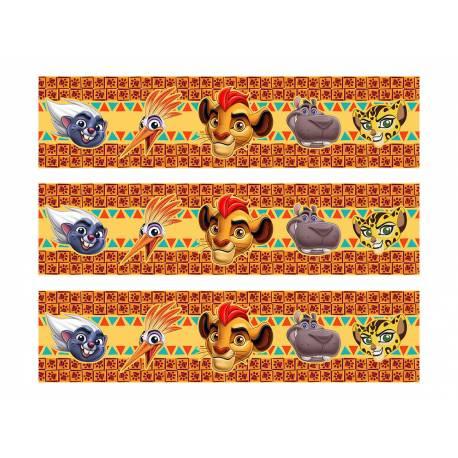 Bandes de sucre pour décorer le contour de vos gâteaux sur le thème Le Roi Lion Livré en 3 bandes de 27 cm de long et 6.5 cm de...