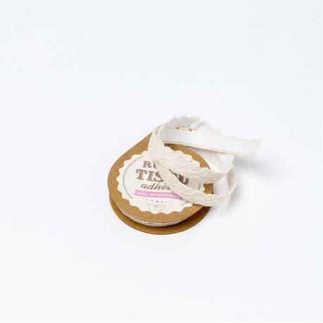 Ruban de tissu adhésif dentelle 10 mm x 2 mètres coloris: ivoire