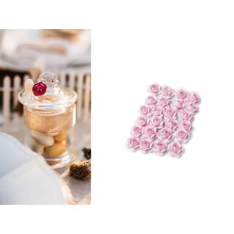24 mini roses rose sur tige thema deco - Rose avec tige ...