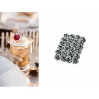 24 mini roses gris perle sur tige