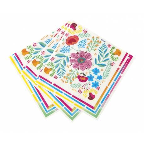 20 Serviettes en papier inspiration Boho chic idéal pour une décoration de table festive, fraîche et estivale Dimensions: 33cm x 33cm