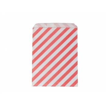Pochette papier cadeau rayures corail
