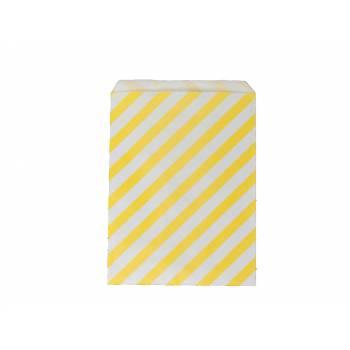 Pochette papier cadeau rayures jaune