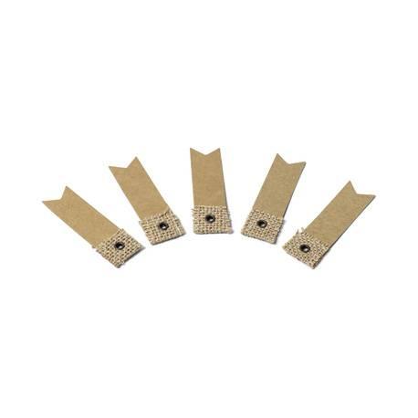 10 étiquettes en kraft et jute Dimensions : 7 cm x 2 cm